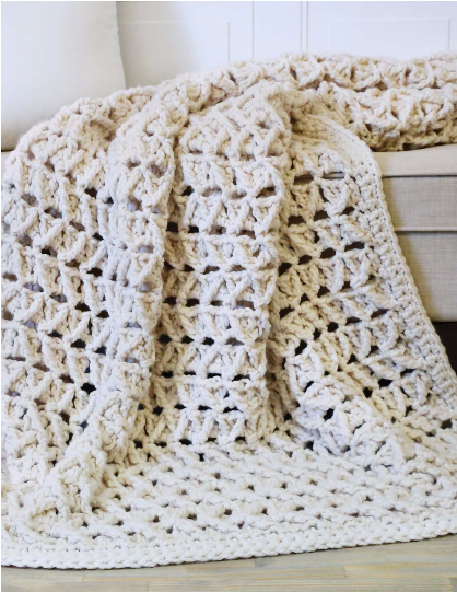 Faux Cabled Blanket by Tamara Kelly, of MooglyBlog.com