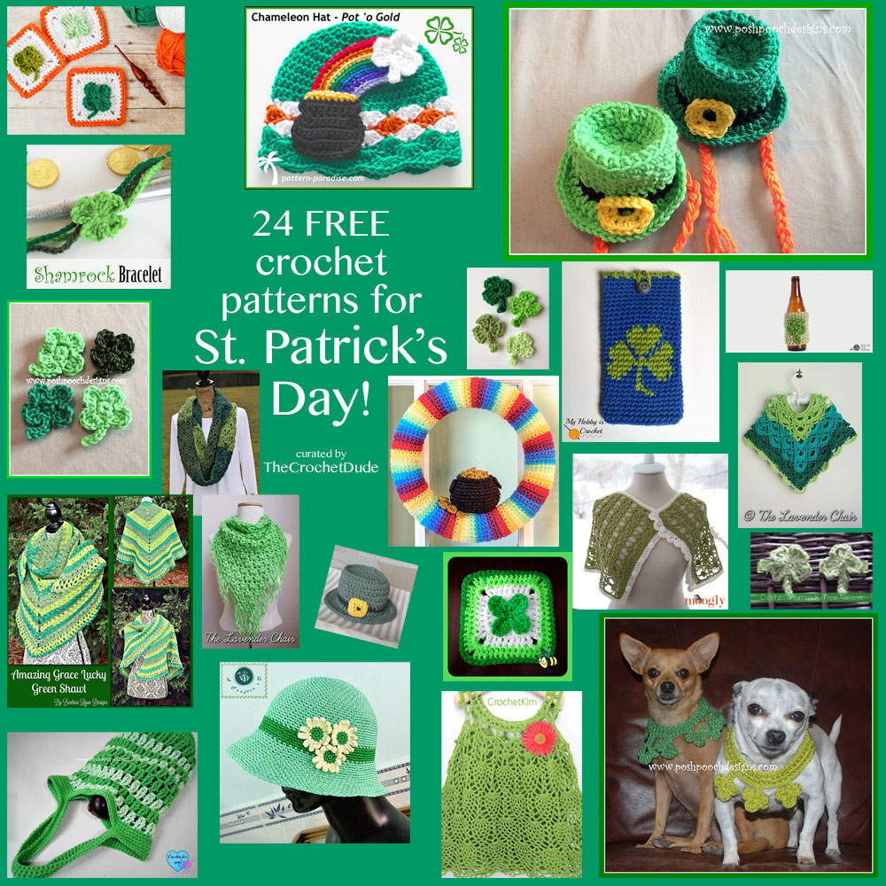 24 FREE crochet patterns for St. Patrick\'s Day! - The Crochet Dude