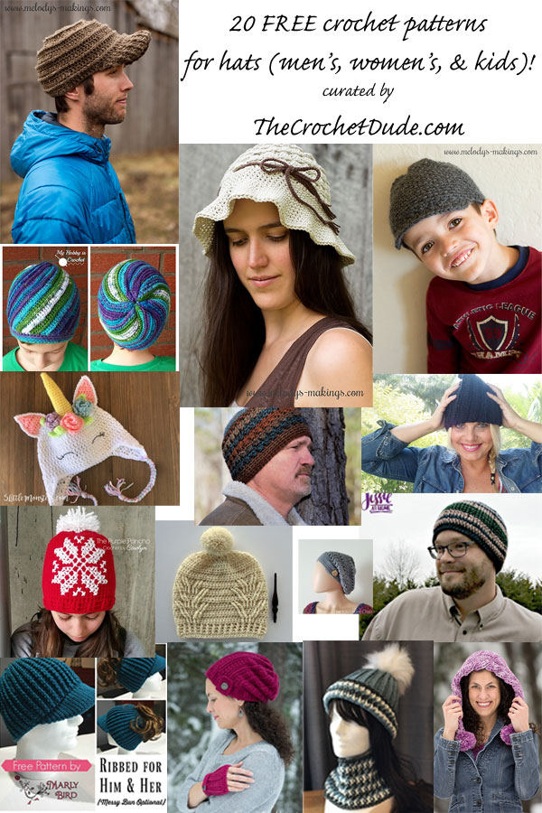 20 FREE crochet patterns for hats! - The Crochet Dude